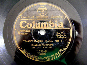 CHARLIE TROUTT MELODY ARTISTS Columbia 1030 JAZZ 78rpm
