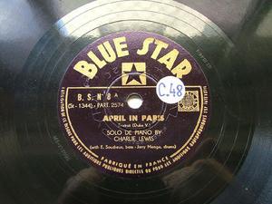 CHARLIE LEWIS Blue Star 8 JAZZ 78rpm APRIL IN PARIS