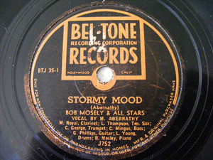 BOB MOSELY Bel Tone J752 JAZZ 78rpm STORMY MOOD