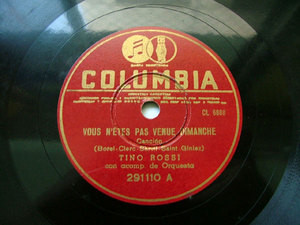 TINO ROSSI Columbia 291110 FRENCH 78rpm VOUS N'ETES PAS