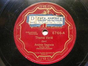 ANDRES SEGOVIA Victrola GUITAR 78 THEME VARIE / GAVOTTE