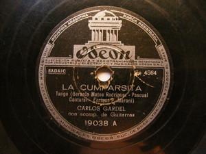 CARLOS GARDEL Odeon 19038 TANGO 78 LA CUMPARSITA / MILONGA SENTIMENTAL