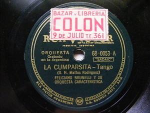FELICIANO BRUNELLI Victor 68-0053 TANGO 78 LA CUMPARSITA / ILUSION DE MI VIDA