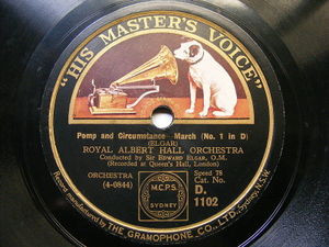 EDWARD ELGAR cond ROYAL ALBERT HALL ORCH hmv 1102 78 POMP AND CIRCUNSTANCE