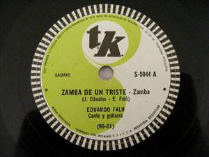 EDUARDO FALU Tk 5044 GUITAR 78rpm ZAMBA DE UN TRISTE / PRELUDIO Y DANZA