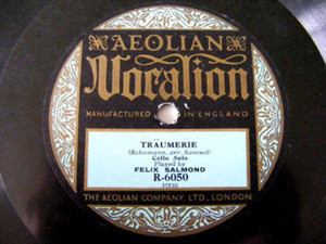 FELIX SALMOND Aeolian Vocalion R6050 CELLO 78 TRAUMEREI