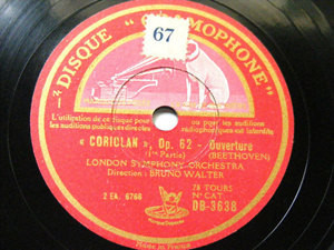 BRUNO WALTER Gramophone 3638 78 BEETHOVEN Coriolan Overture NM