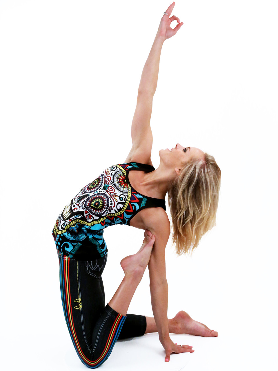 Erin Ragan wearing INKnBURN Run or Die Striped Capris and Calavera Singlet