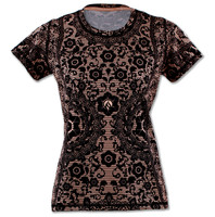 Women's Black Lace Tech Shirt Front