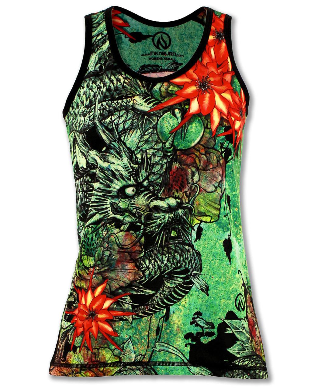 INKnBURN Women's Green Ryu Singlet Tank Top Front