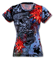 Women's Blue Ryu Dragon Tech Shirt Front