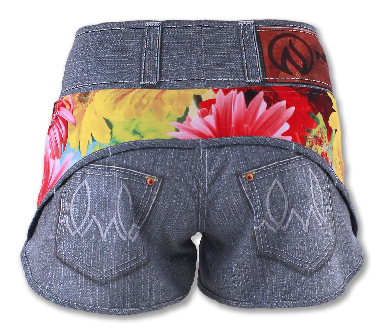 INKnBURN Women's Wildflower Running and Workout Shorts Front View