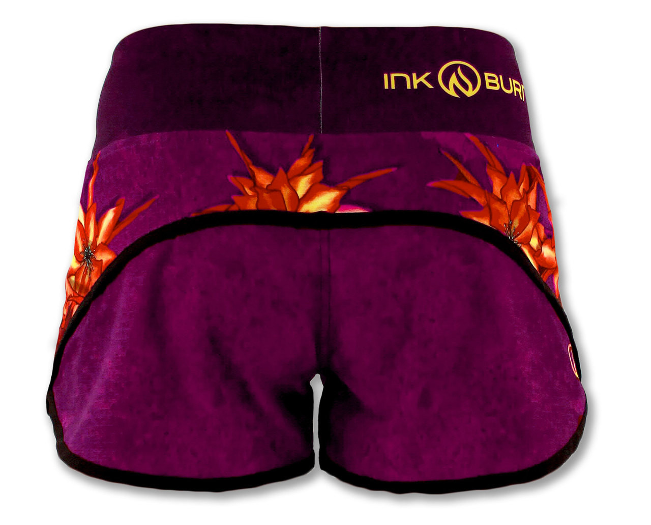 INKnBURN Women's Dragon Flower Shorts Back Waistband Up