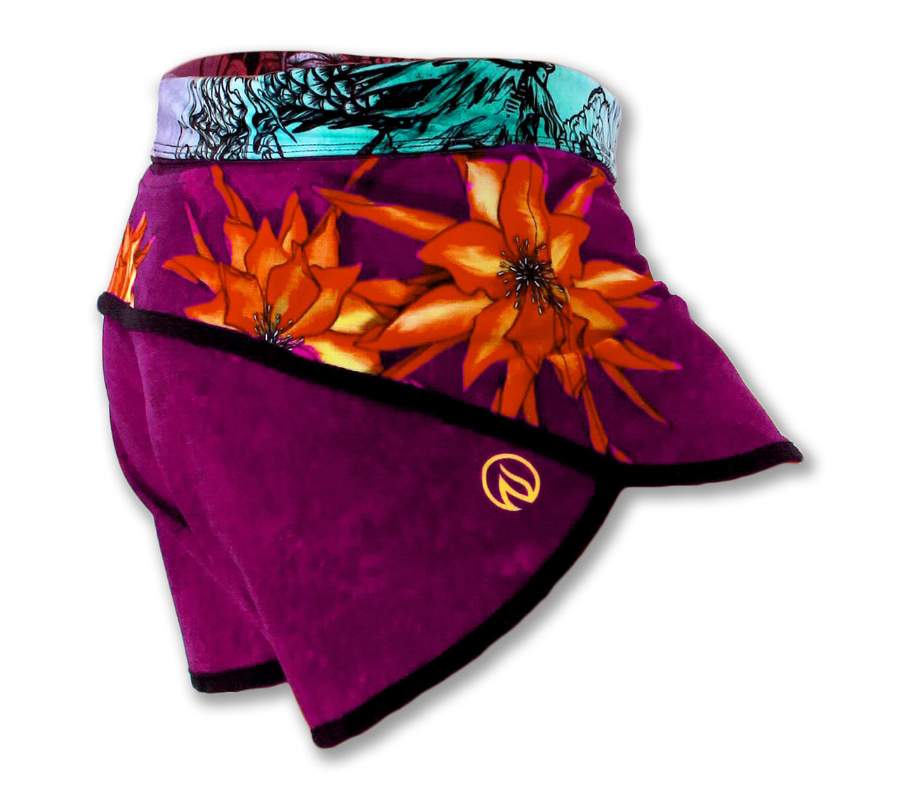 INKnBURN Women's Dragon Flower Shorts Right Side Waistband Down