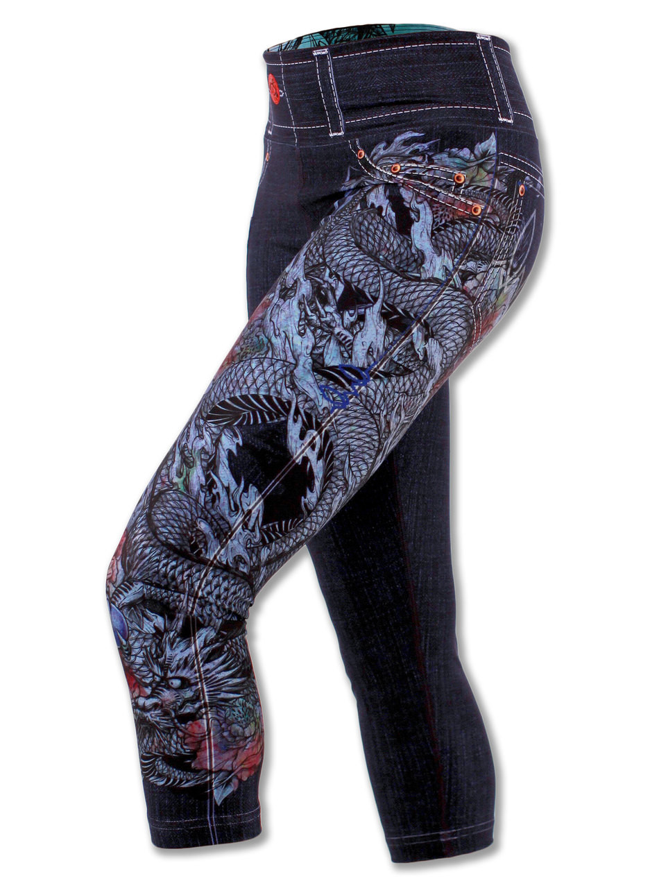 Women's Denim Dragon Capris for Running, yoga & Workout