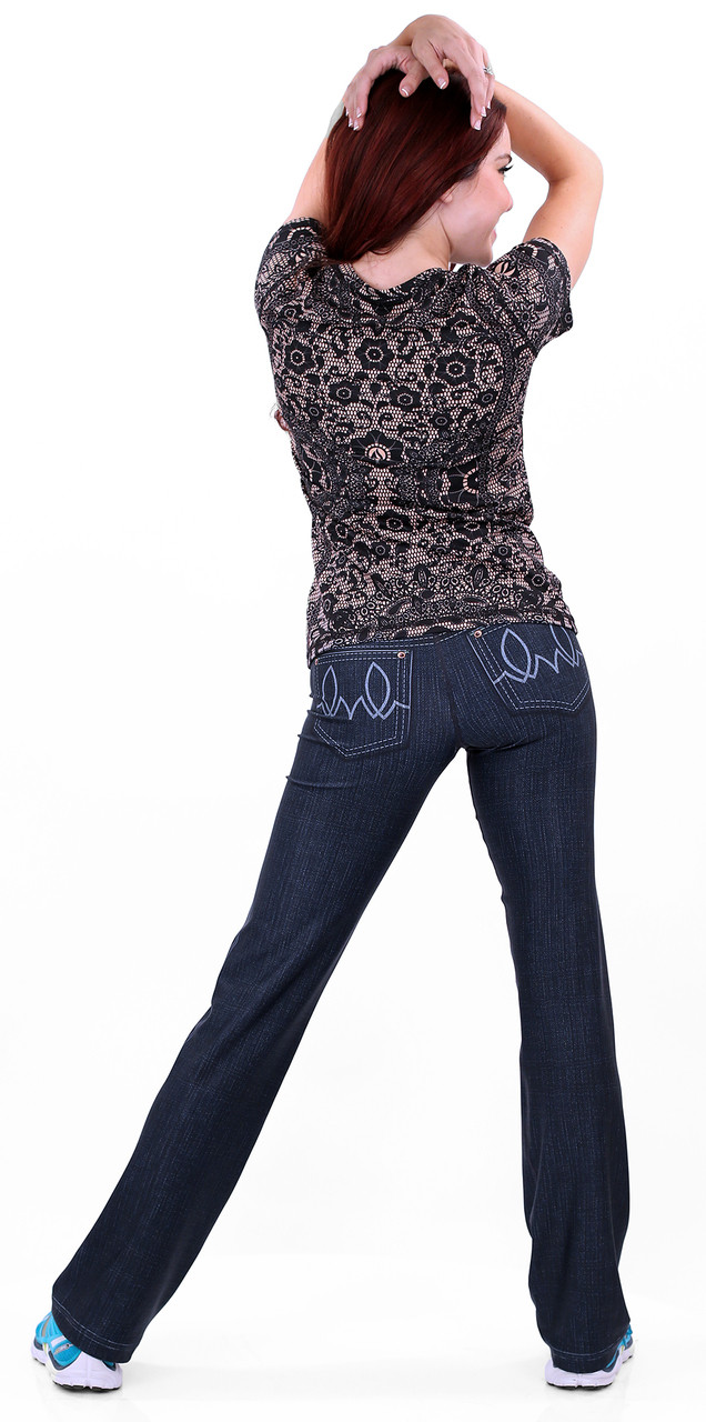 INKnBURN 210 Denim Pants with Black Lace Tech Shirt Back