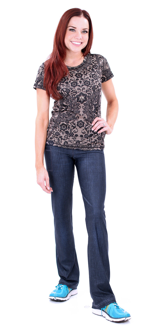 INKnBURN 210 Denim Pants with Black Lace Tech Shirt Front