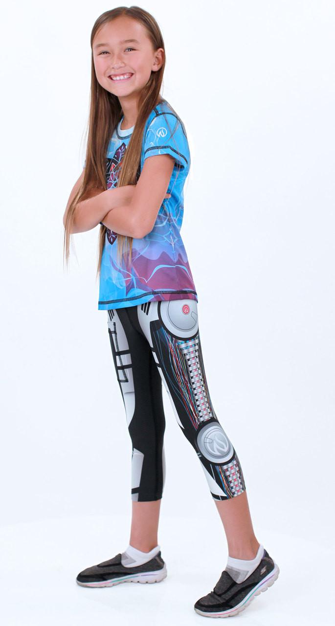 Girls Robot Capris and Girls Healing Mandala Tech Shirt