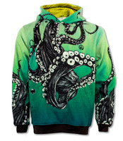 INKnBURN Octopus Hoodie Front with Hood Down
