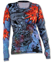 INKnBURN Women's Blue Ryu Pullover with Thumbholes Front