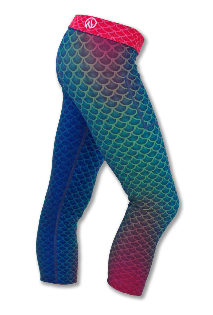 INKnBURN Women's Mermaid Capris Right Side with Waistband Folded Down.