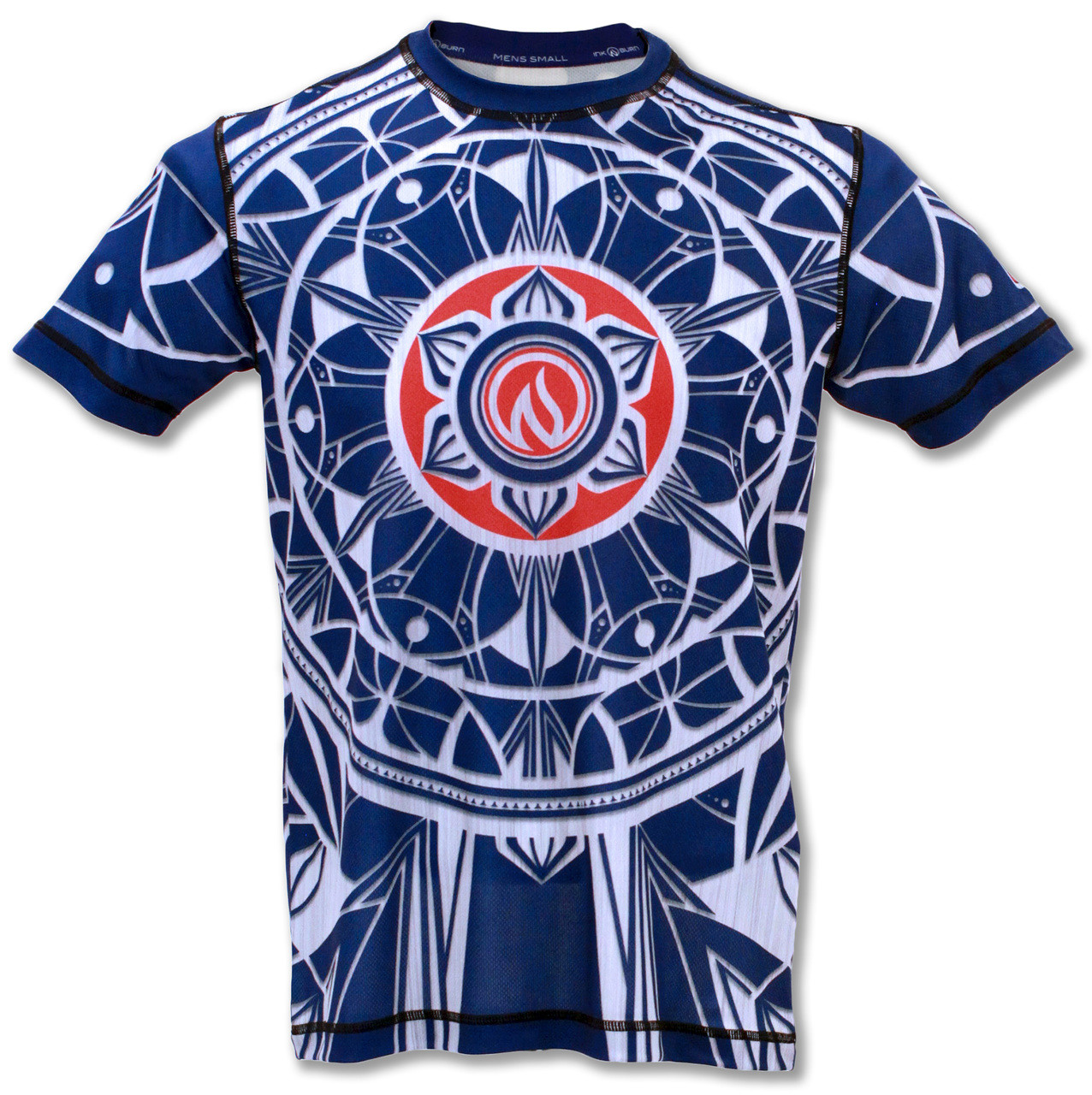 INKnBURN Men's Blue Healing Mandala Tech Shirt Front