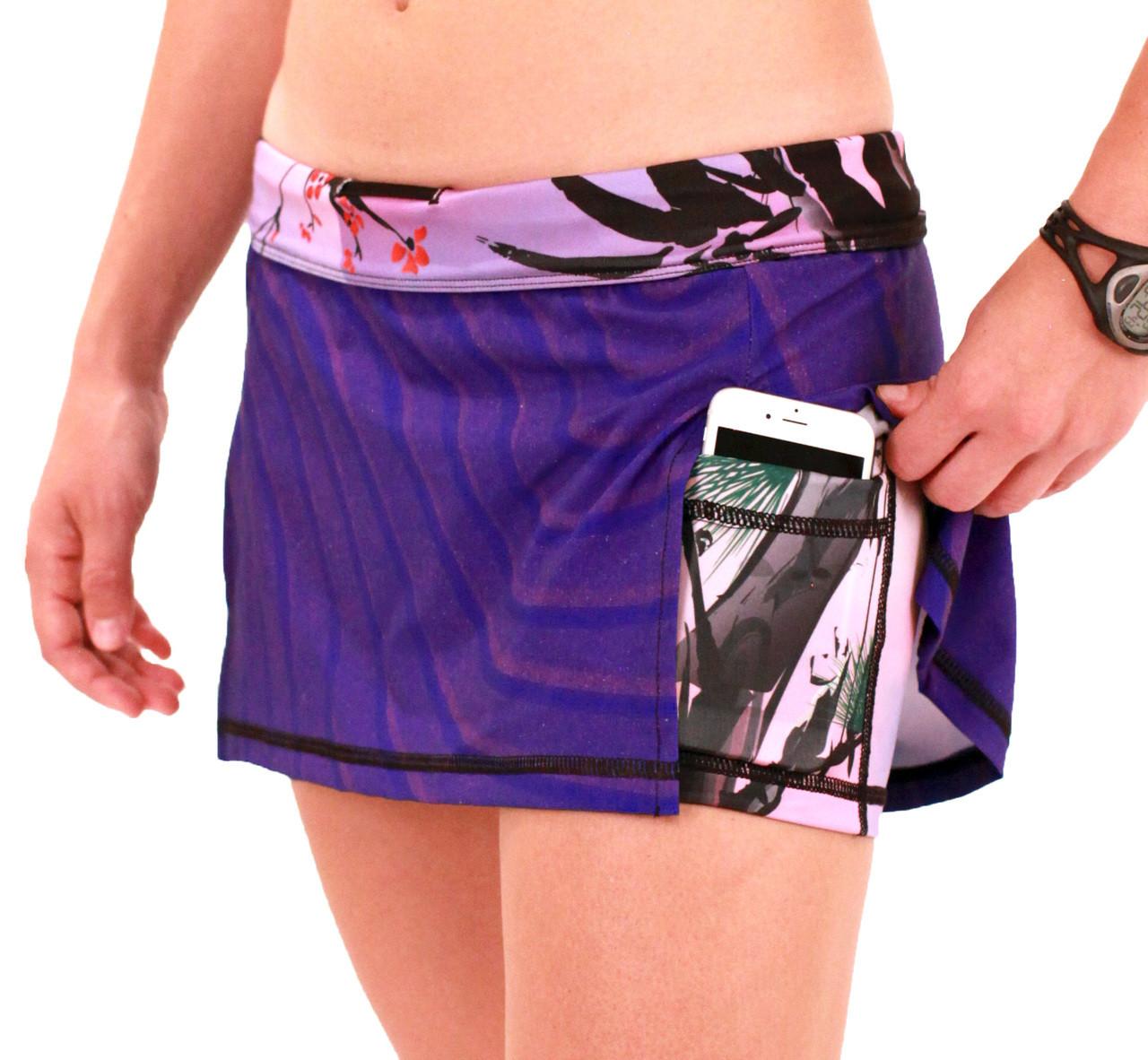 INKnBURN Women's Zen Sport Skirt Left Side Waistband Folded Down showing phone pocket