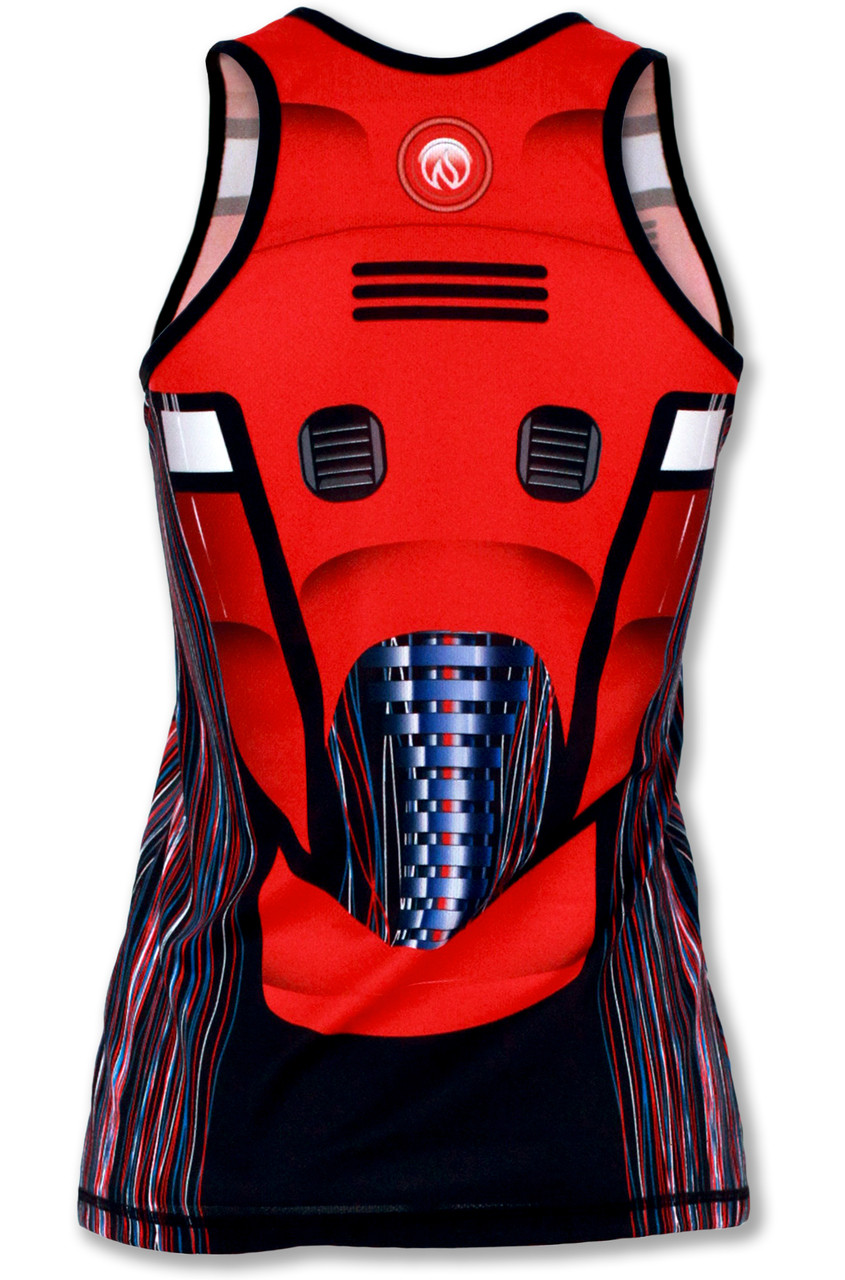 INKnBURN Women's Red Robot Singlet Back