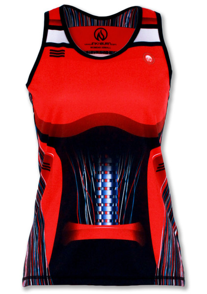 INKnBURN Women's Red Robot Singlet Front