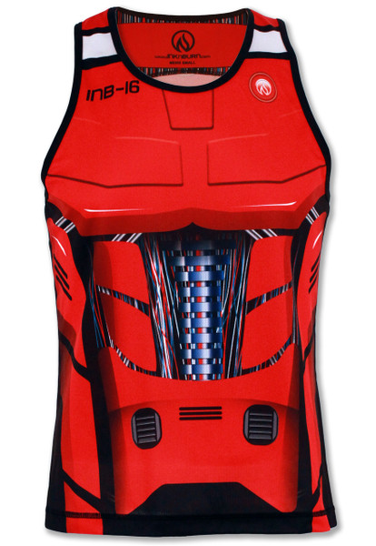 INKnBURN Men's Red Robot Singlet Front