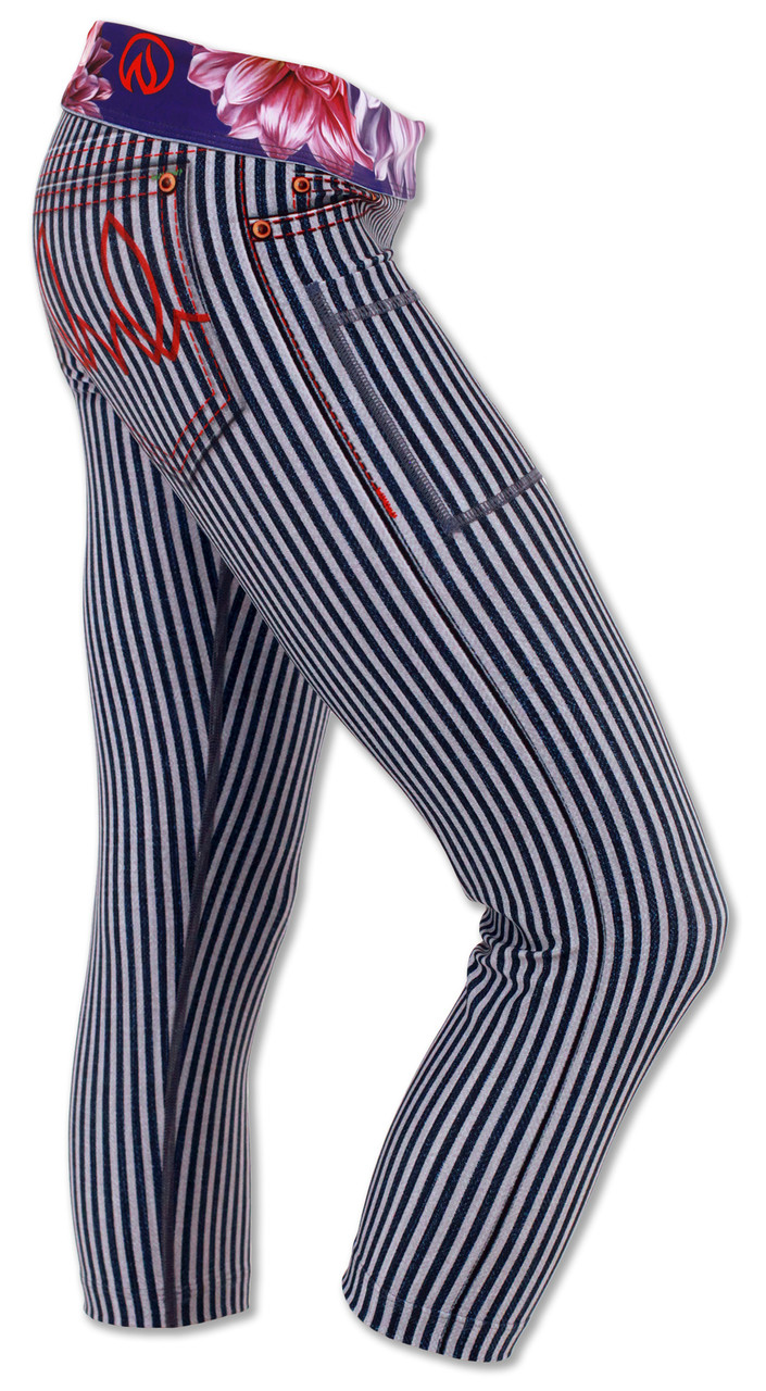 Women's Dahlia Striped Capris Right Side Waistband Down