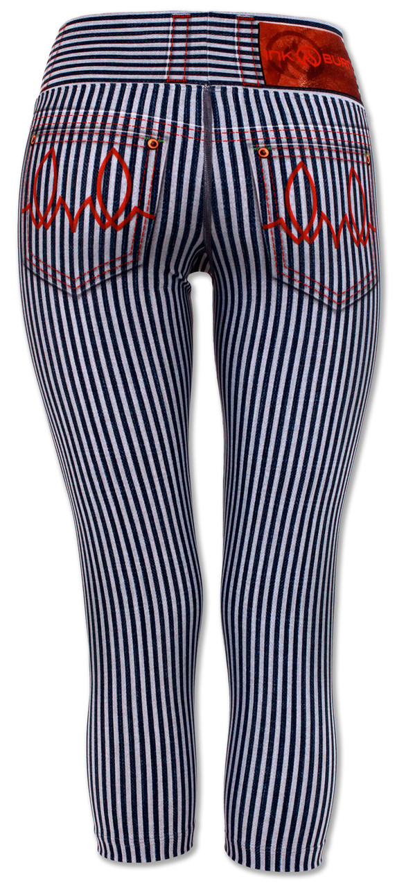 Women's Dahlia Striped Capris Back Waistband Up