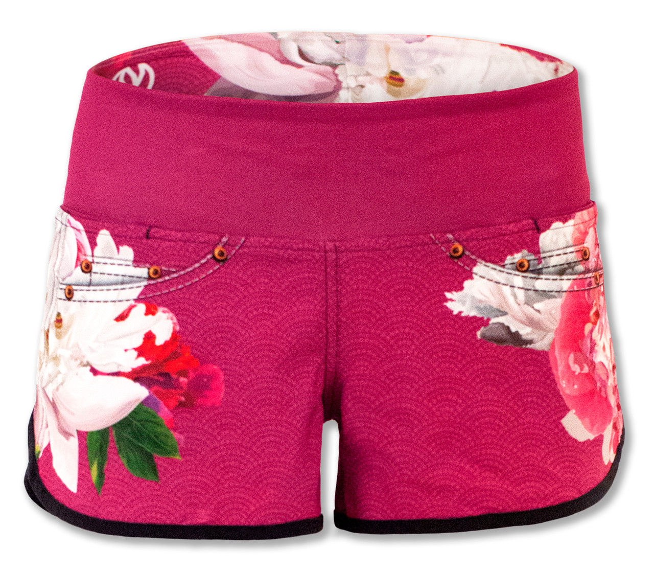 INKnBURN Pink Flora Shorts Front Waistband Up