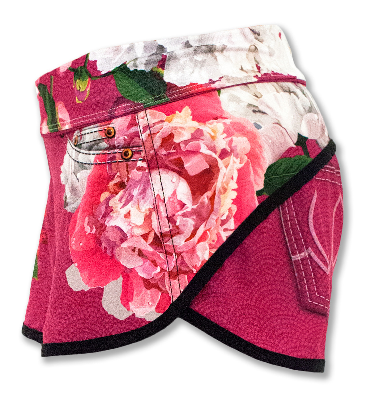INKnBURN Pink Flora Shorts Left Side Waistband Folded Down