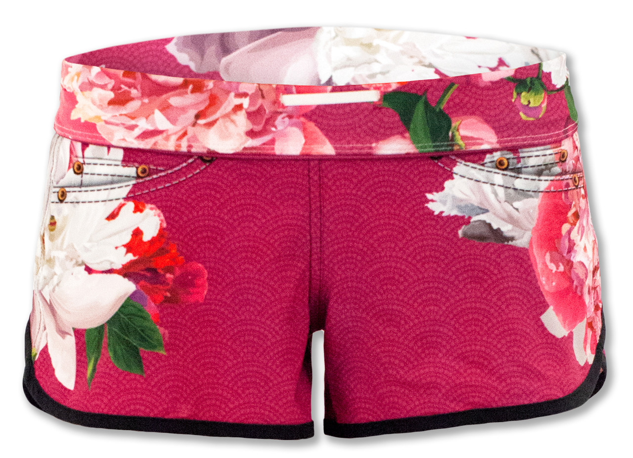 INKnBURN Pink Flora Shorts Front Waistband Folded Down