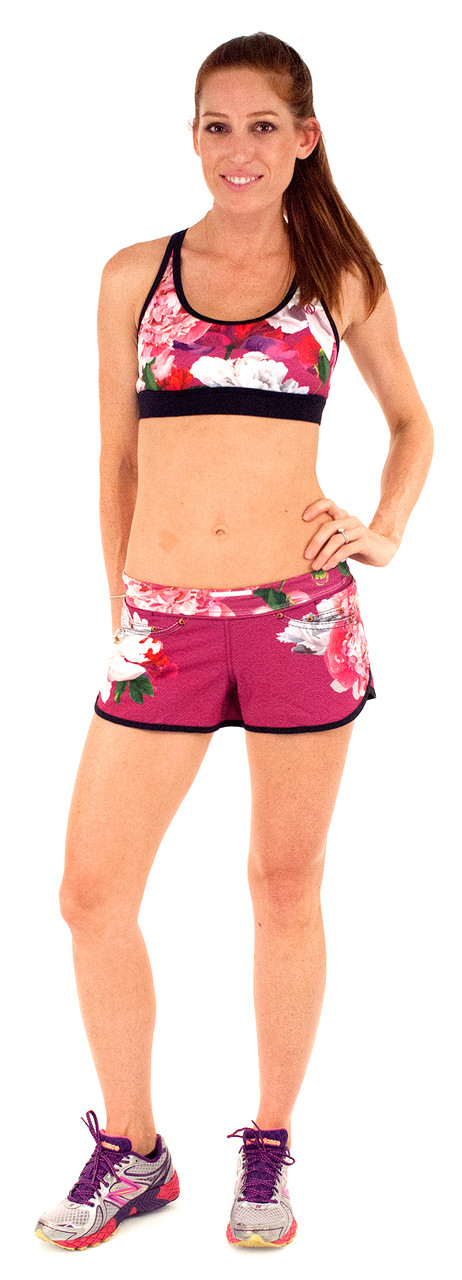INKnBURN Women's Pink Flora Sports Bra and Pink Flora Shorts