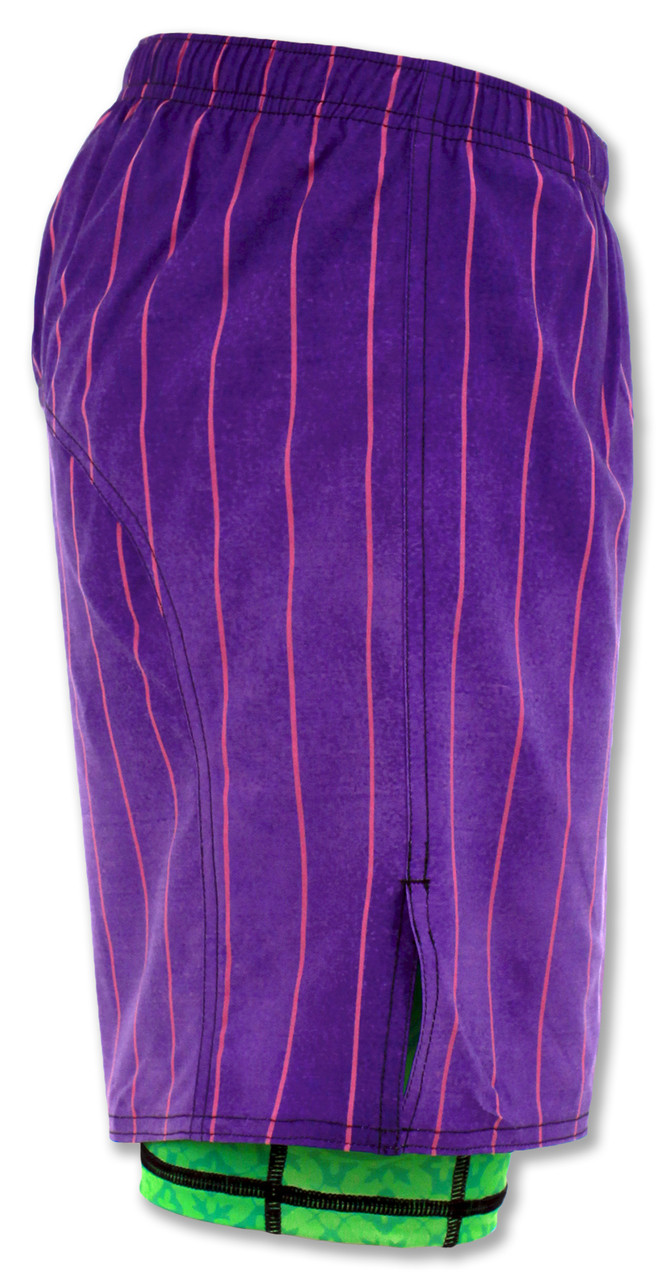 INKnBURN Men's Purple Pinstripe Shorts Right Side