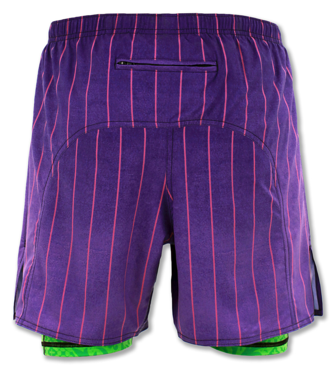 INKnBURN Men's Purple Pinstripe Shorts Back Showing Zippered Pocket