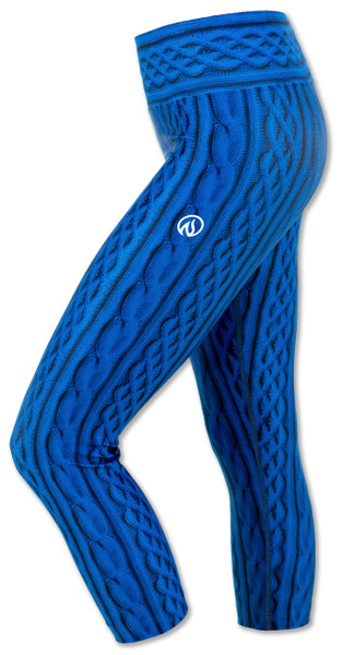 INKnBURN Women's Blue Cable Knit Capris Left Side Waistband Up