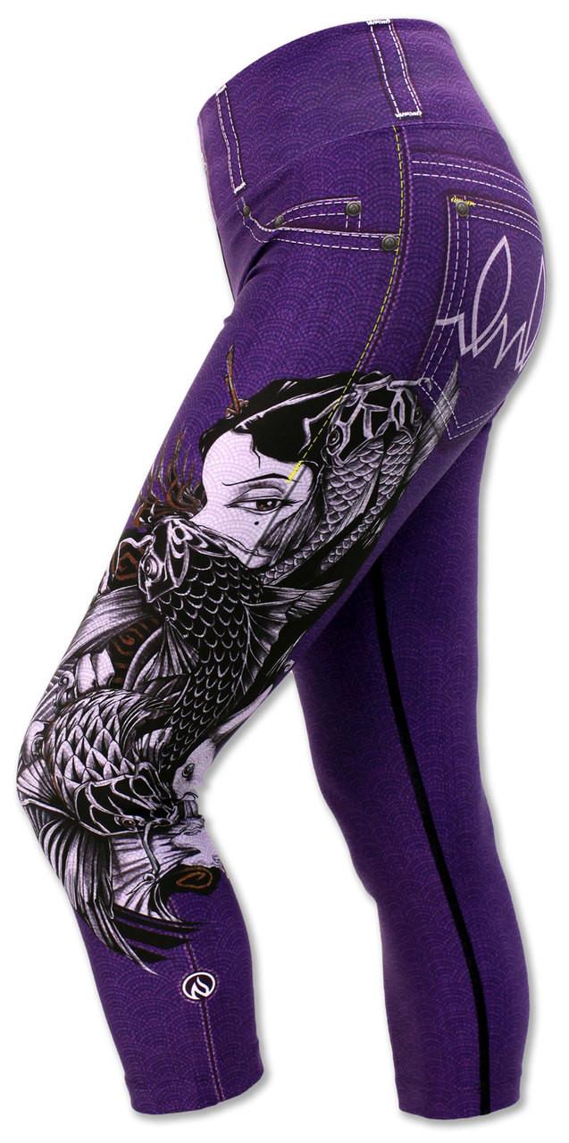 INKnBURN Women's Purple Lust Capris Left Side Waistband Up
