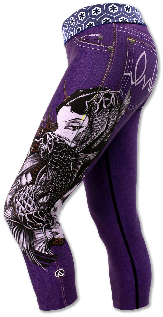 INKnBURN Women's Purple Lust Capris Left Side Waistband Down