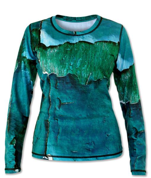 INKnBURN Women's Peeling Paint Long Sleeve Tech Shirt Front