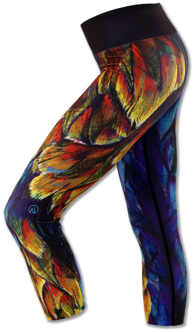 INKnBURN Painted Feather Capris Left Side