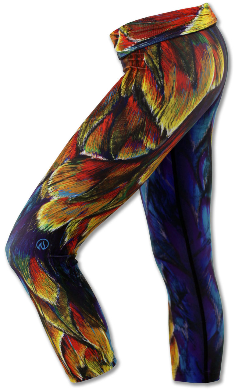 INKnBURN Painted Feather Capris Left Side Waistband Folded Down