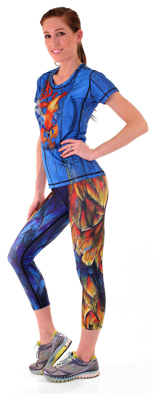 INKnBURN Women's Fire Rooster Tech Shirt and Painted Feather Capris