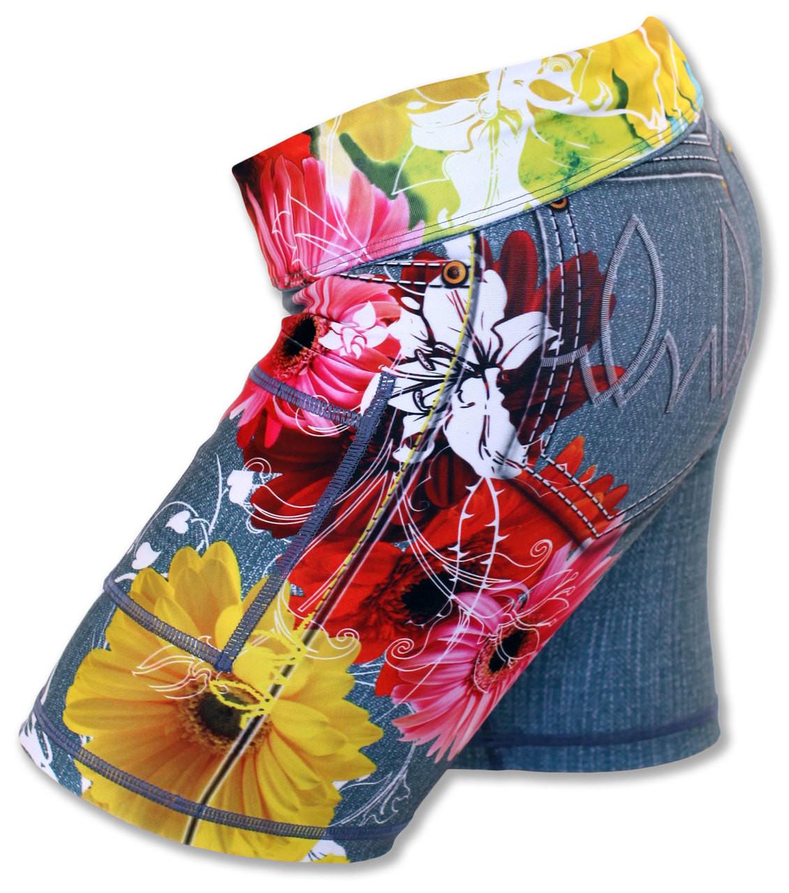 "INKnBURN Women's Wildflower 6"" Shorts Waistband Folded Down"