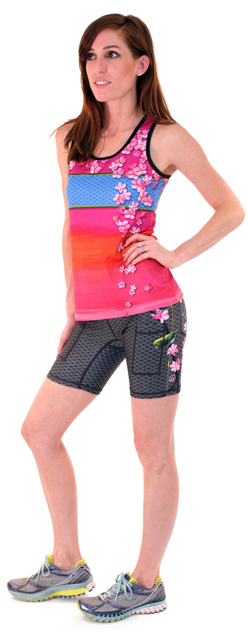 "INKnBURN Women's Sakura Singlet and Mejiro 6"" Shorts"
