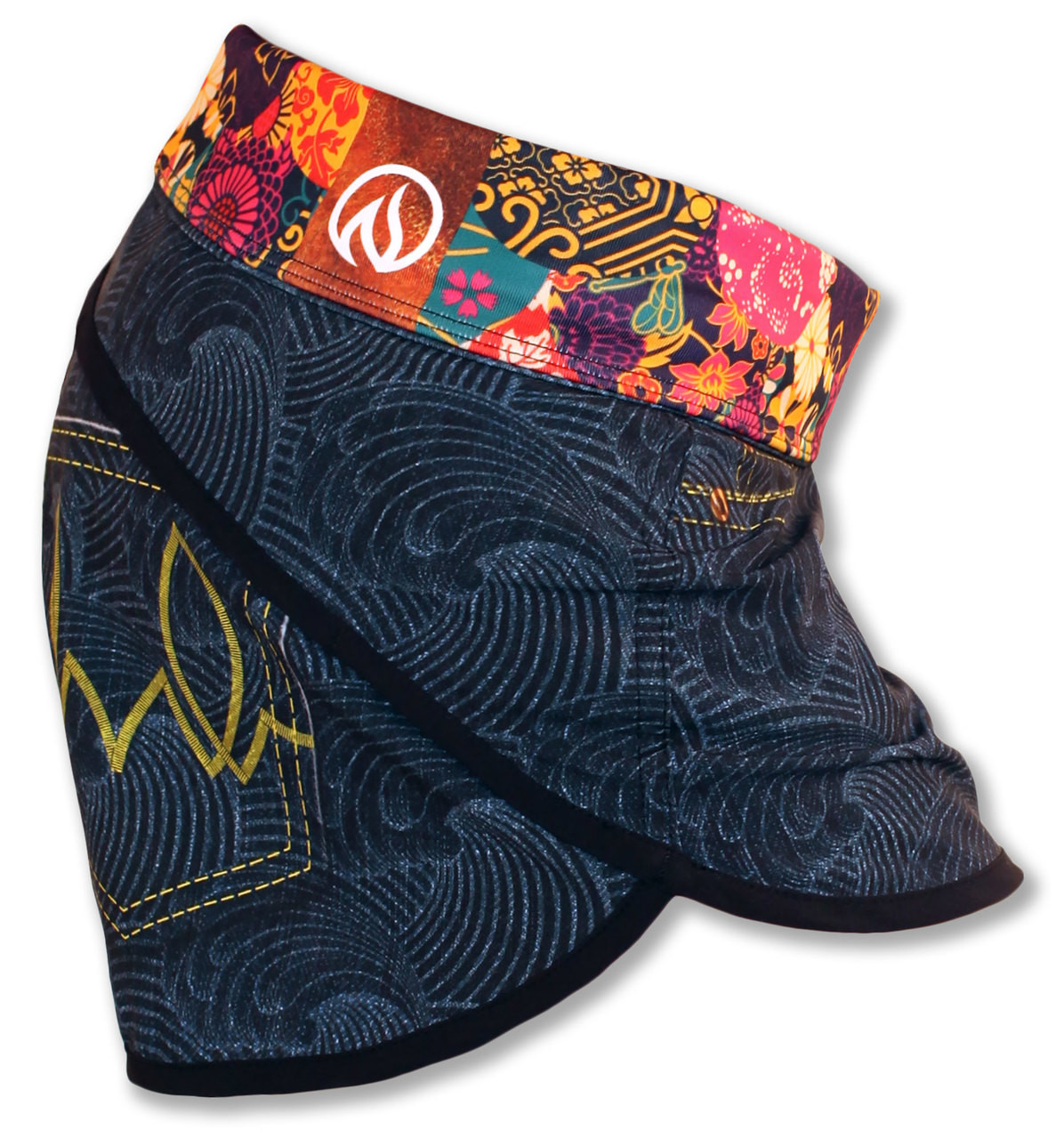 INKnBURN Women's Wave Denim Shorts Waistband Folded Down