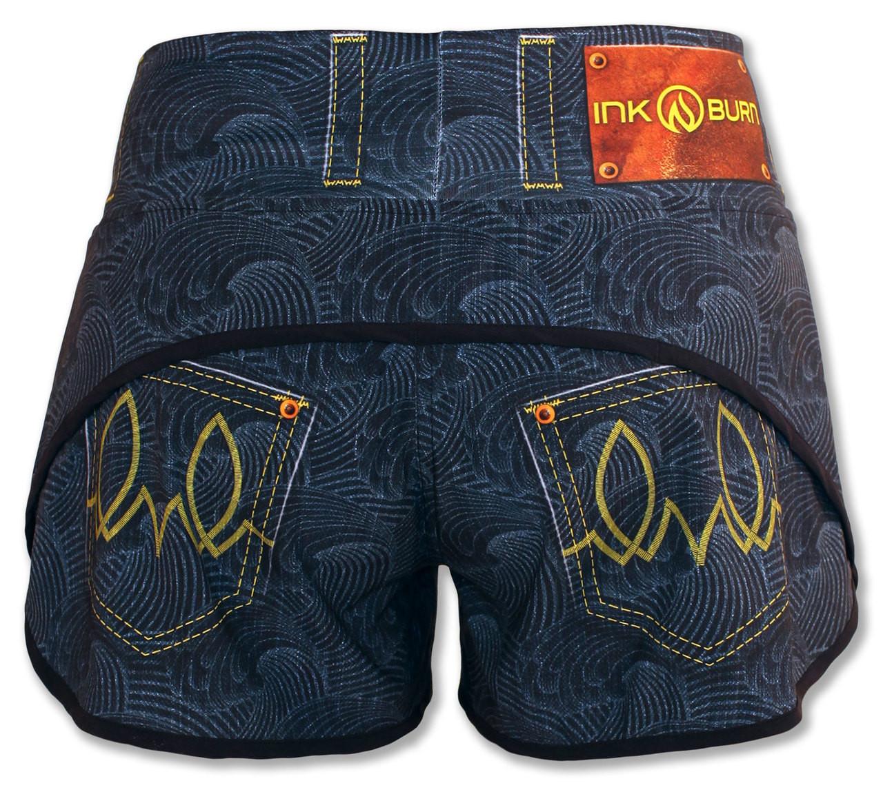 INKnBURN Women's Wave Denim Shorts Back