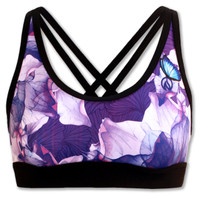 INKnBURN Women's Purple Azalea Sports Bra Front